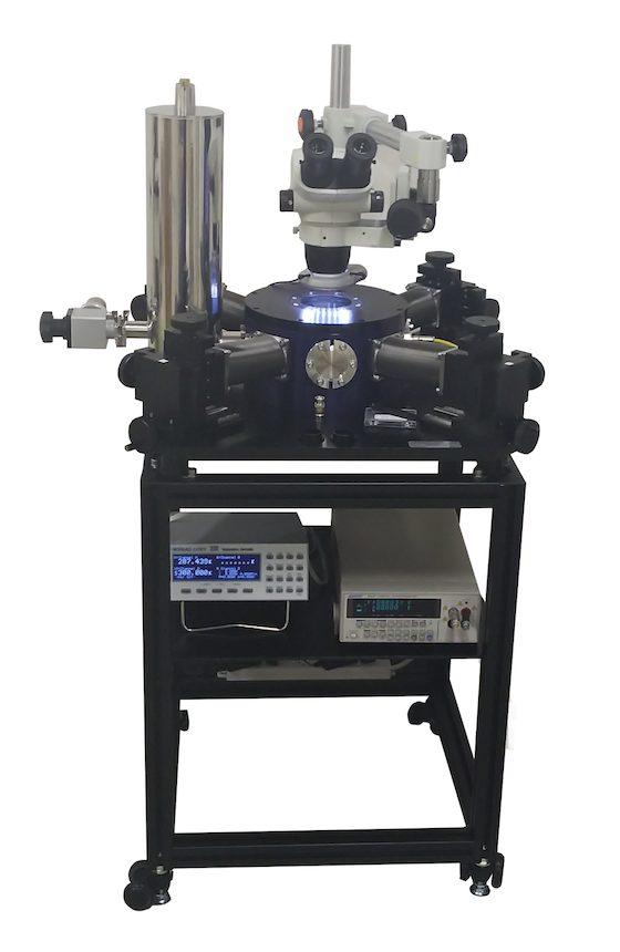 実体顕微鏡を組合わせたLN2プローバー
